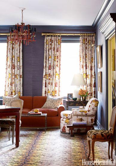 Great Room, Grass Cloth Wallpaper by Meg Braff, House Beautiful