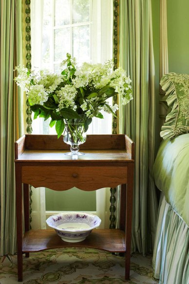 Hampton Summer Home, Fresh Flowers Complement Antique American Washstand by Jack Fhillips Design, Inc.