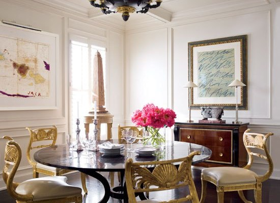 Dining Room Anchored by Regency Styled Chairs and Dark Stained Flooring by J. Randall Powers