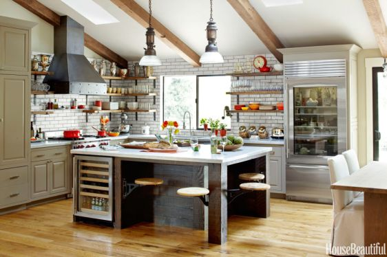 Entertaining Kitchen with Salvaged Wood, Raw Steel & Glazed Brick by Dan Doyle