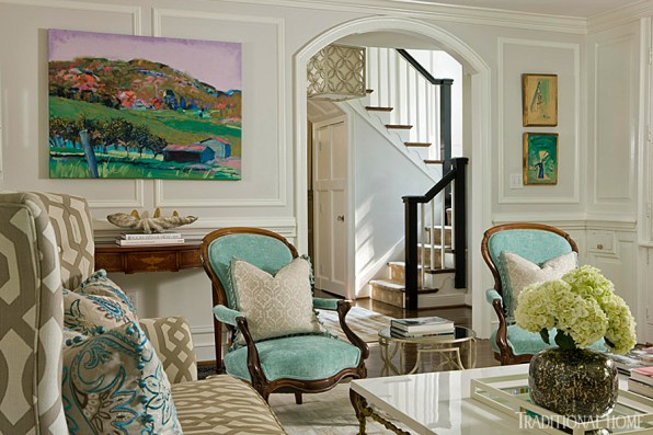 Living Room with Bold Textiles, Kat Liebschwager Interiors