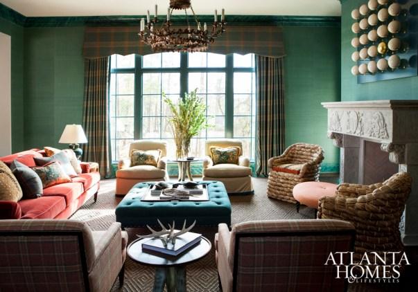 Family Room, Blue-Green Grasscloth Wallpaper, LCH Interiors