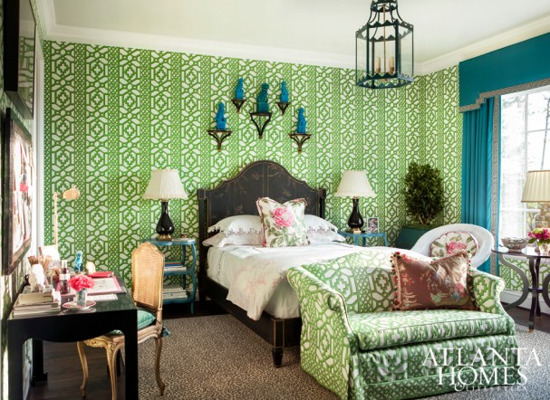 Guest Bedroom with Schumacher Singeries Wallpaper, Mallory Mathison