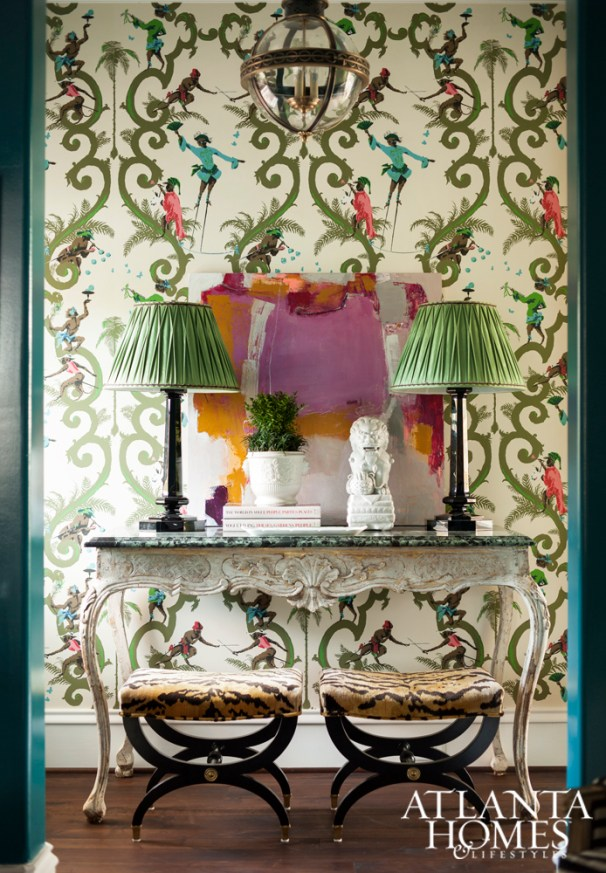 Hallway Marble Top Console with Schumacher Singeries Wallpaper, Mallory Mathison