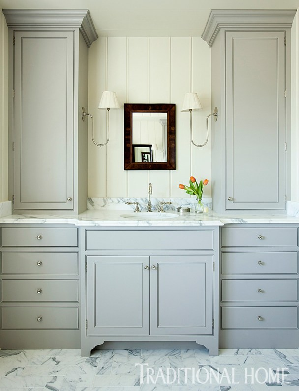 Master Bath with Pale Gray Vanity Cabinetry, Calacatta Gold Marble Counters & Floor