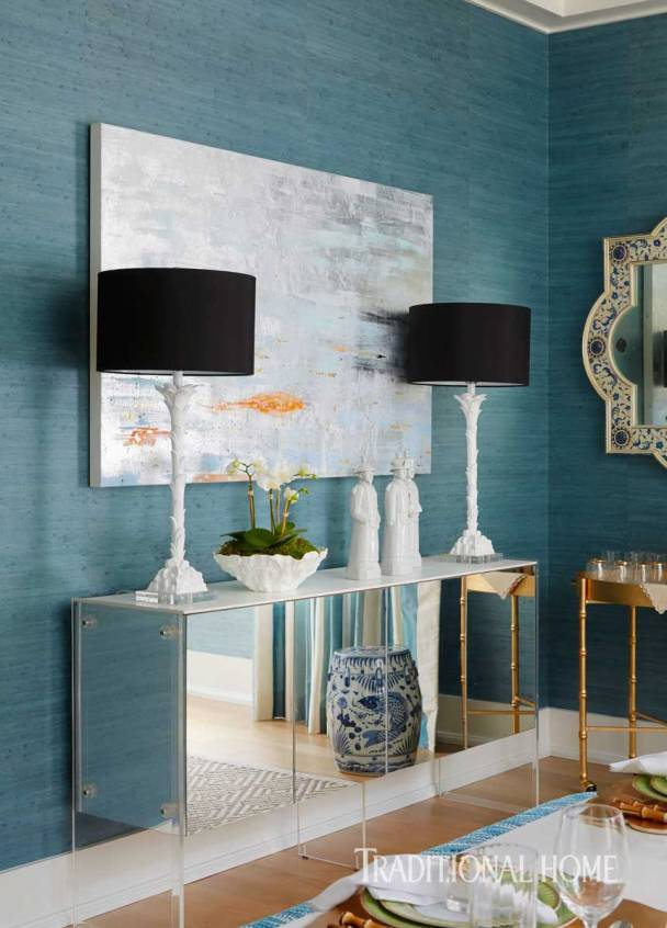 Dining Wall Anchored with Vintage Mirrored Cabinet. Barbara Page