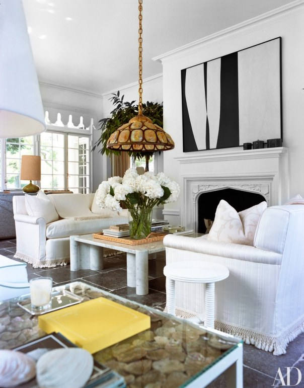 Vintage Love Seats Anchor this Living Room, Reed & Delphine Krakoff