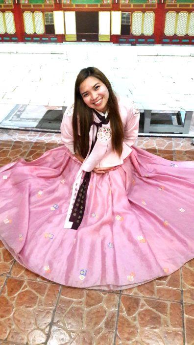 Frances in hanbok.