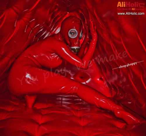 Red latex gas mask costume AliExpress