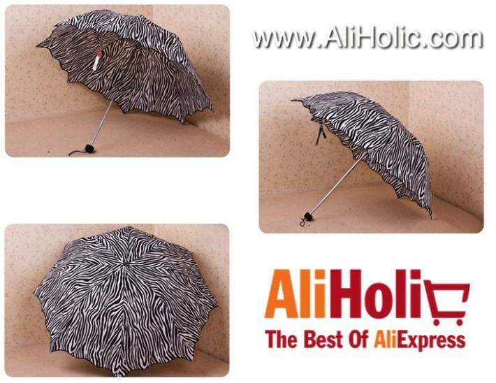 Zebra jagged edges umbrella AliExpress