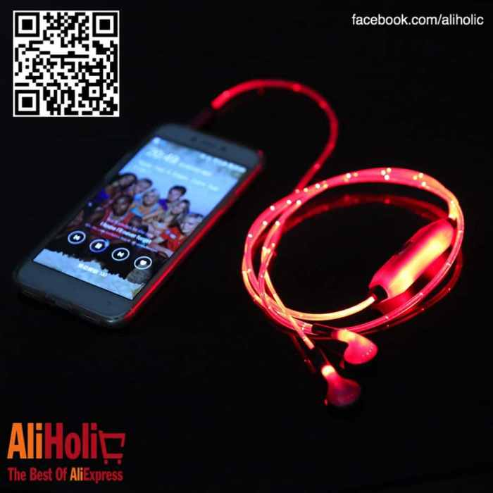 LED earphones red