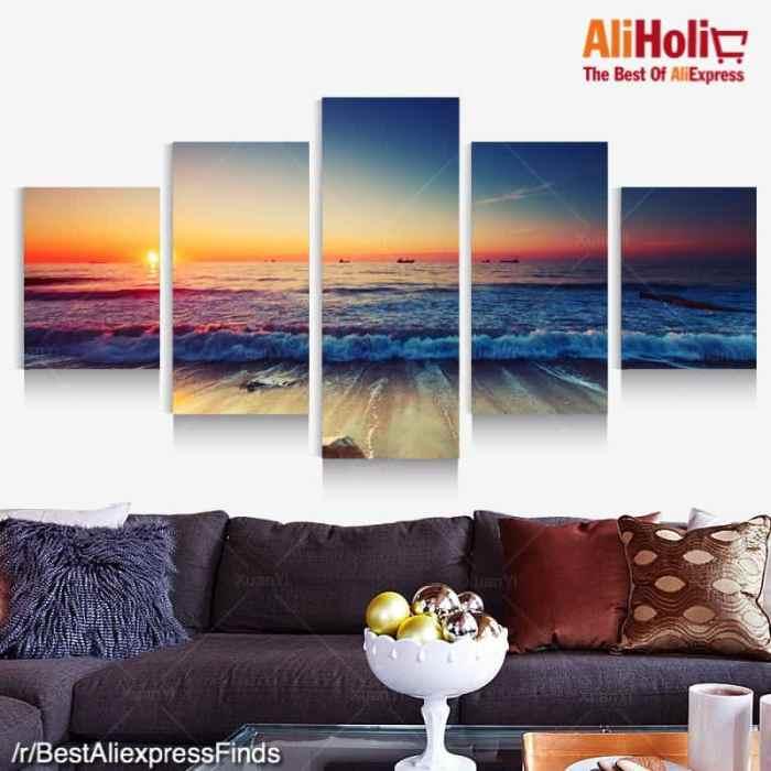 5 Piece ocean panorama poster