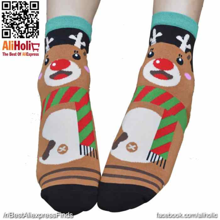 Christmas socks brown