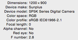 SunPlus SP5K camera image specs