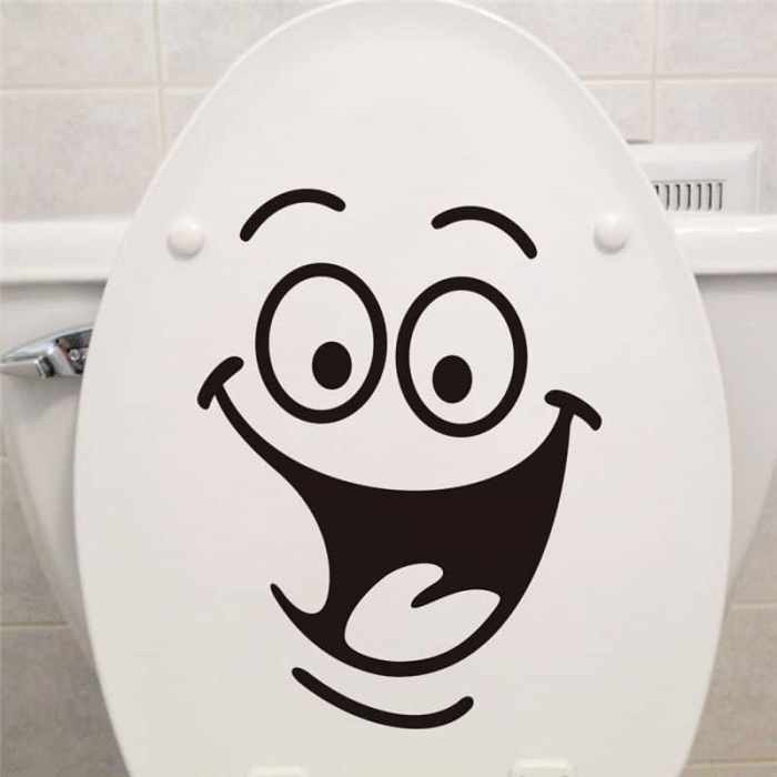 Smile-face-Toilet-stickers-diy-personalized-furniture-decoration-wall-decals-fridge-washing-machine-sticker-Bathroom-Car