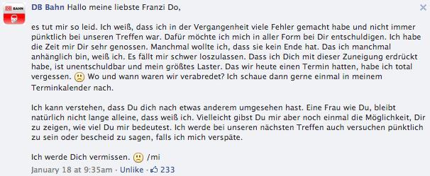 Hallo meine liebste Kundin (Deutsche Bahn)