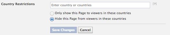 Fanseite in gewissen Ländern blockieren