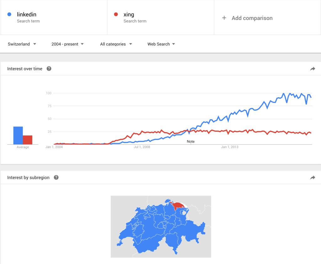 Nur noch im Kanton Thurgau ist mehr Interesse an Xing, als an LinkedIn vorhanden