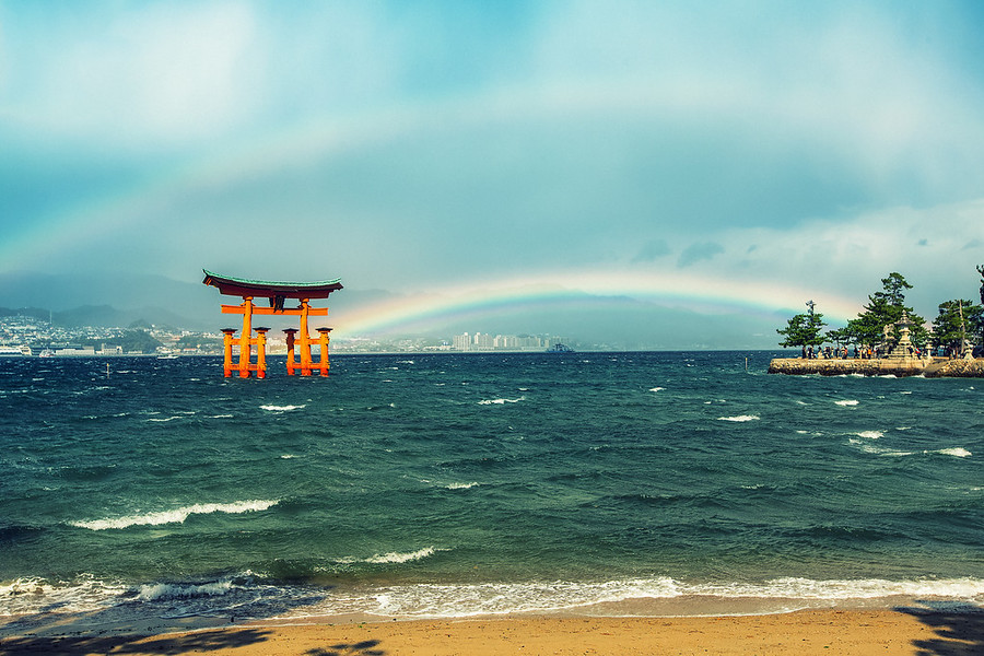 Double Rainbow at Miyajima JapanThey say the shrine was built in the water because the Japanese believed the Island was a god. After seeing this I might be convinced.