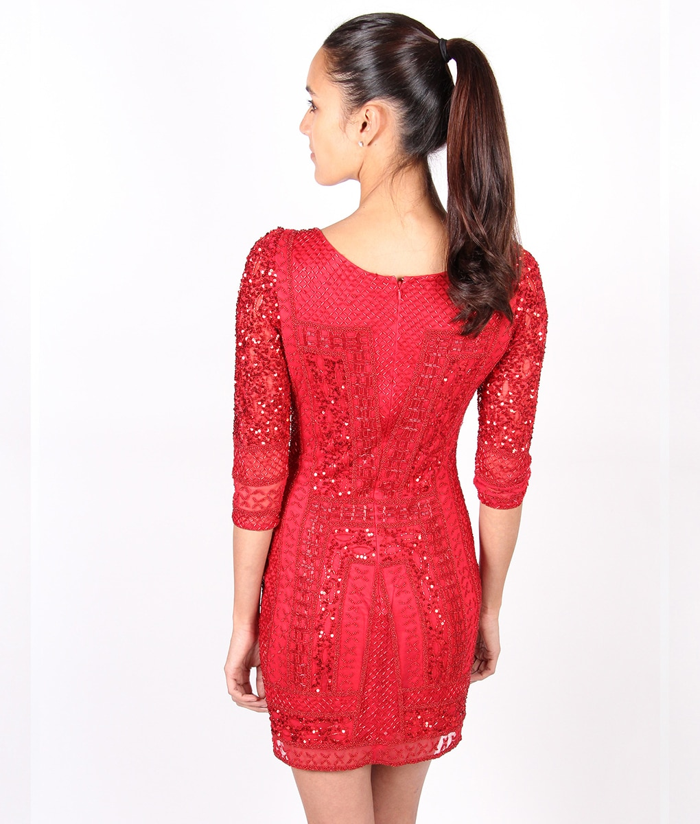 Red sequin long sleeve short dress red