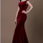 Gino Cerruti Dark Red Velvet Bardot Gown