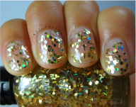18K Gold- 2 Coats- Super interesting chunky gold hex glitter with bigger bar shaped glitter than Penny