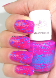 scented polish- hot pink +blue glitter