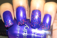 For this mani I used Buffy the Violet Slayer and put the little beads on tips and all over my accent nail.