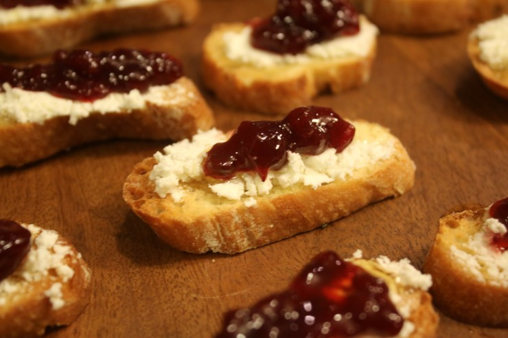 Goat Cheese Lingonberry Crostini
