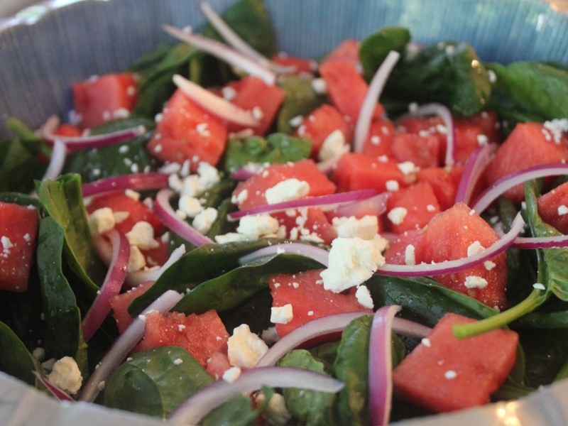 Spinach Watermelon Salad with a Basil Vinaigrette