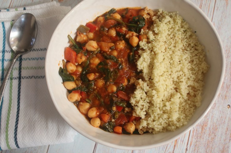 Spinach Chickpea Stew with Garlic Couscous