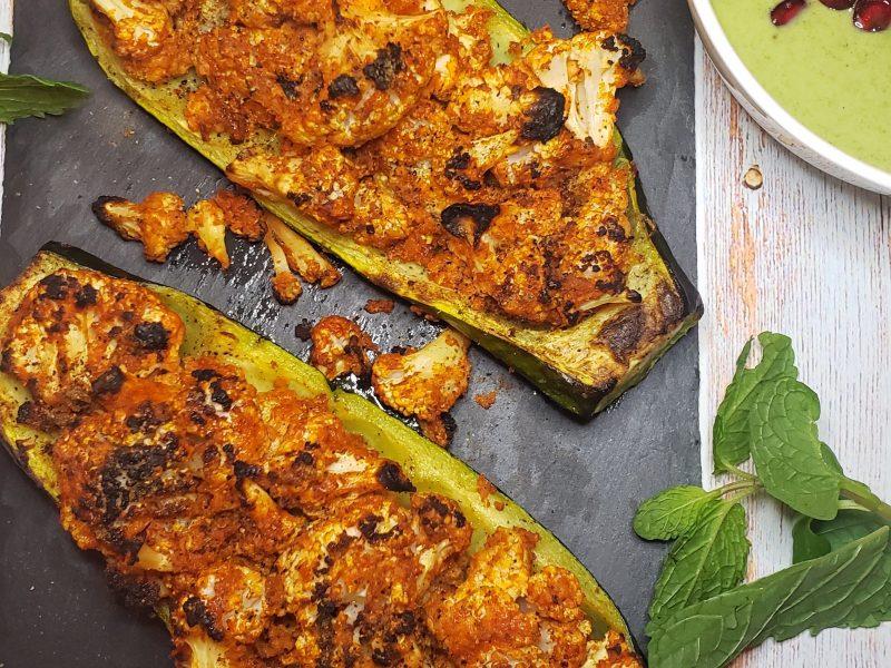 Tandoori Gobi (Cauliflower) Zucchini Boats