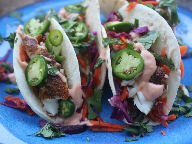 Blackened Fish Tacos with a Garlic Sriracha Aioli