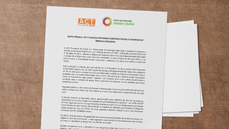 Nota pública: Aliança repudia subsídios fiscais a empresas de bebidas adoçadas