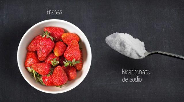 bicarbonato y fresas