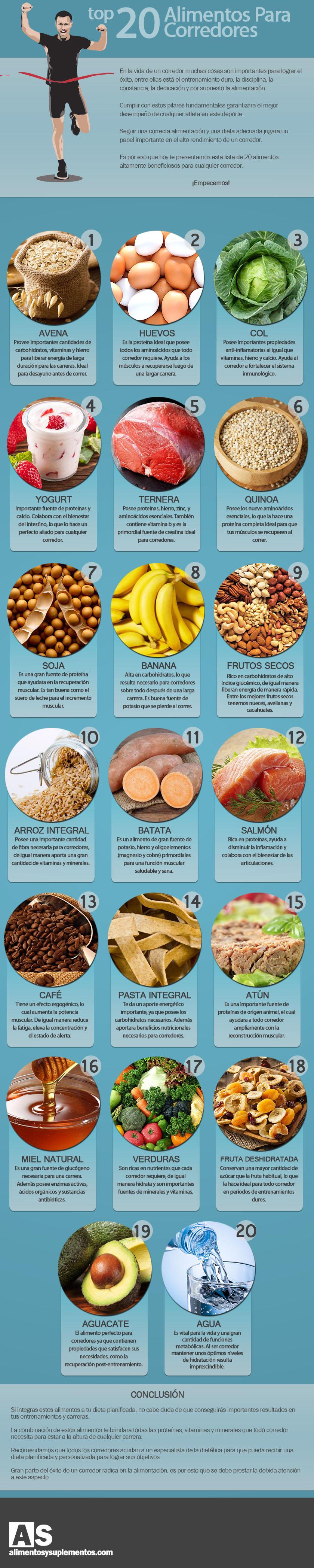 20 alimentos importantes para corredores infografia