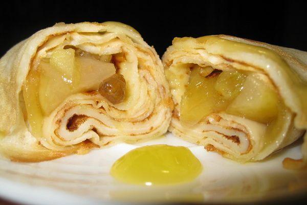 Рецепт блинов с яблоками и изюмом, рецепты с фото