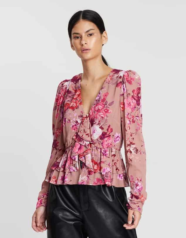 uzun kollu çiçekli bluz modelleri