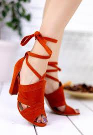 Turuncu Topuklu Ayakkabı Modelleri