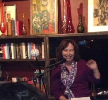 Here I am reading at Lady Jane's Salon in October