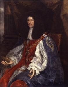 A portrait of Charles II, King of England, seated, and dressed in red and purple royal robes, holding a globe in his hand.