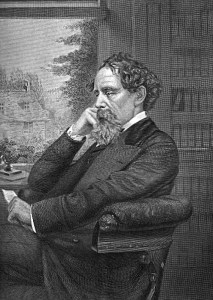 A portrait of Charles Dickens seated sideways, his hand on his cheek.