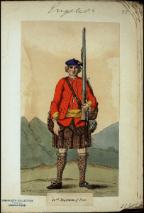 A painting of a Scottish soldier