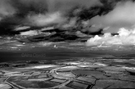 Black-and-white aerial photo of Hawaii. ©Alina Oswald.