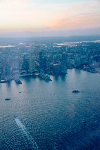 Aerial views of NYC, NJ and NY harbor from One WTC Observatory.