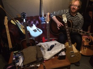 Buried under Jeremy Stacey's guitars