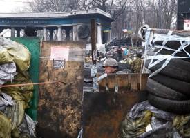Gate through 2-nd level of the barricades at Hrushevskogo St.
