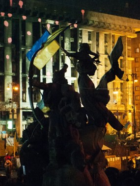 Monument-fountain to the founders of Kiev at Maidan