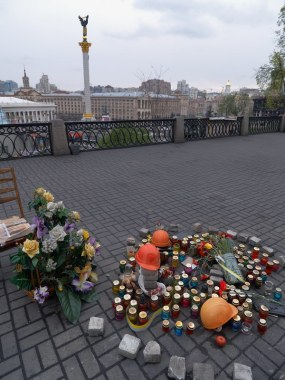 Makeshift memorial near the October Palace, where a man was killed at the evening, February 21, 2014