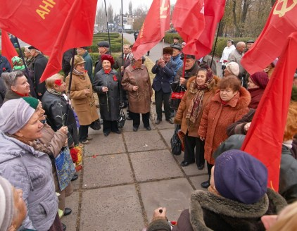 "Communists Party supporters sing the ""International"" song"